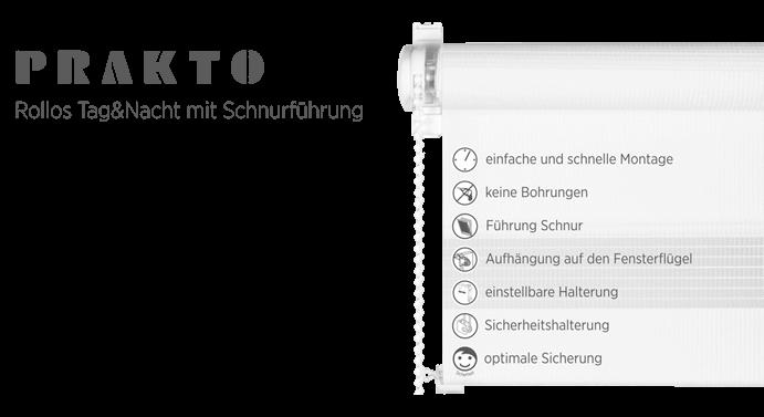 """Klemmrollos """"Tag und Nacht"""" mit Halteschnur"""